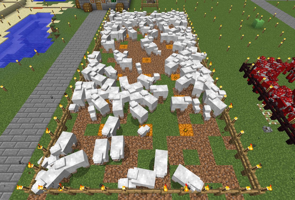 白だけの羊牧場作ってみた