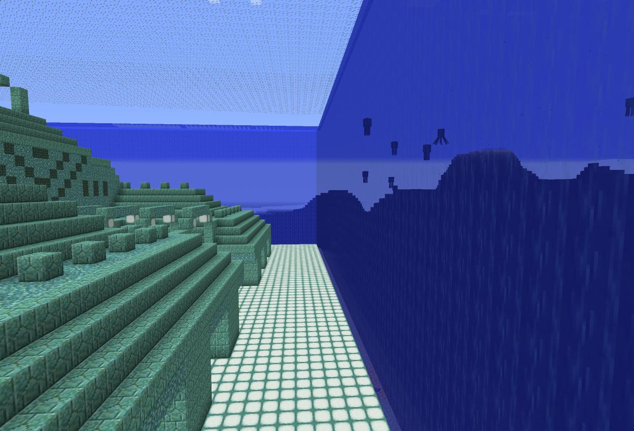 コマンドで海底神殿の周りを水の壁に