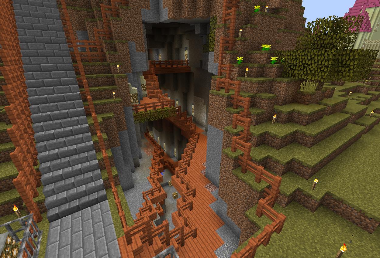 渓谷に町を作る – 通路作ってみた