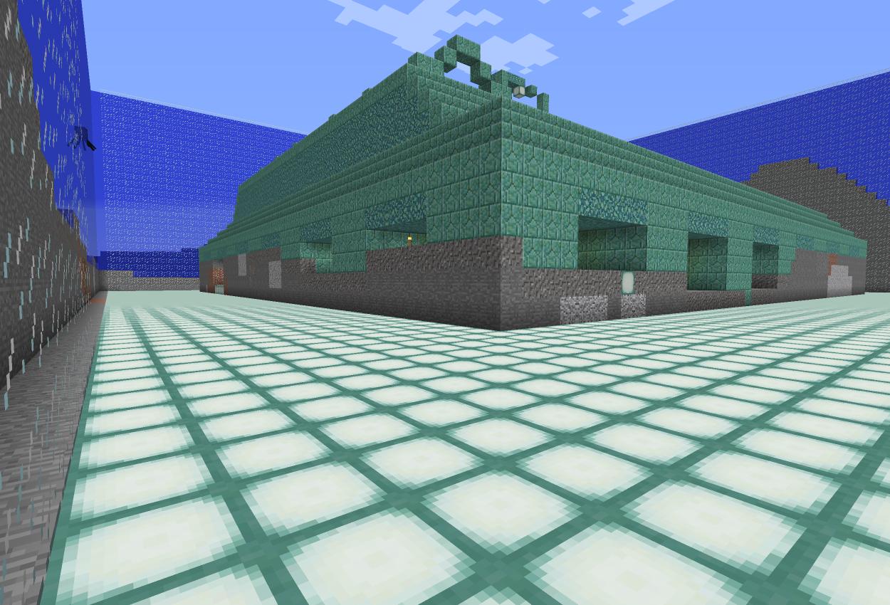 海底神殿の外側をコマンドで水抜き!