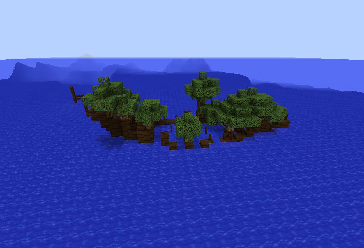 難破船に植物が生えました